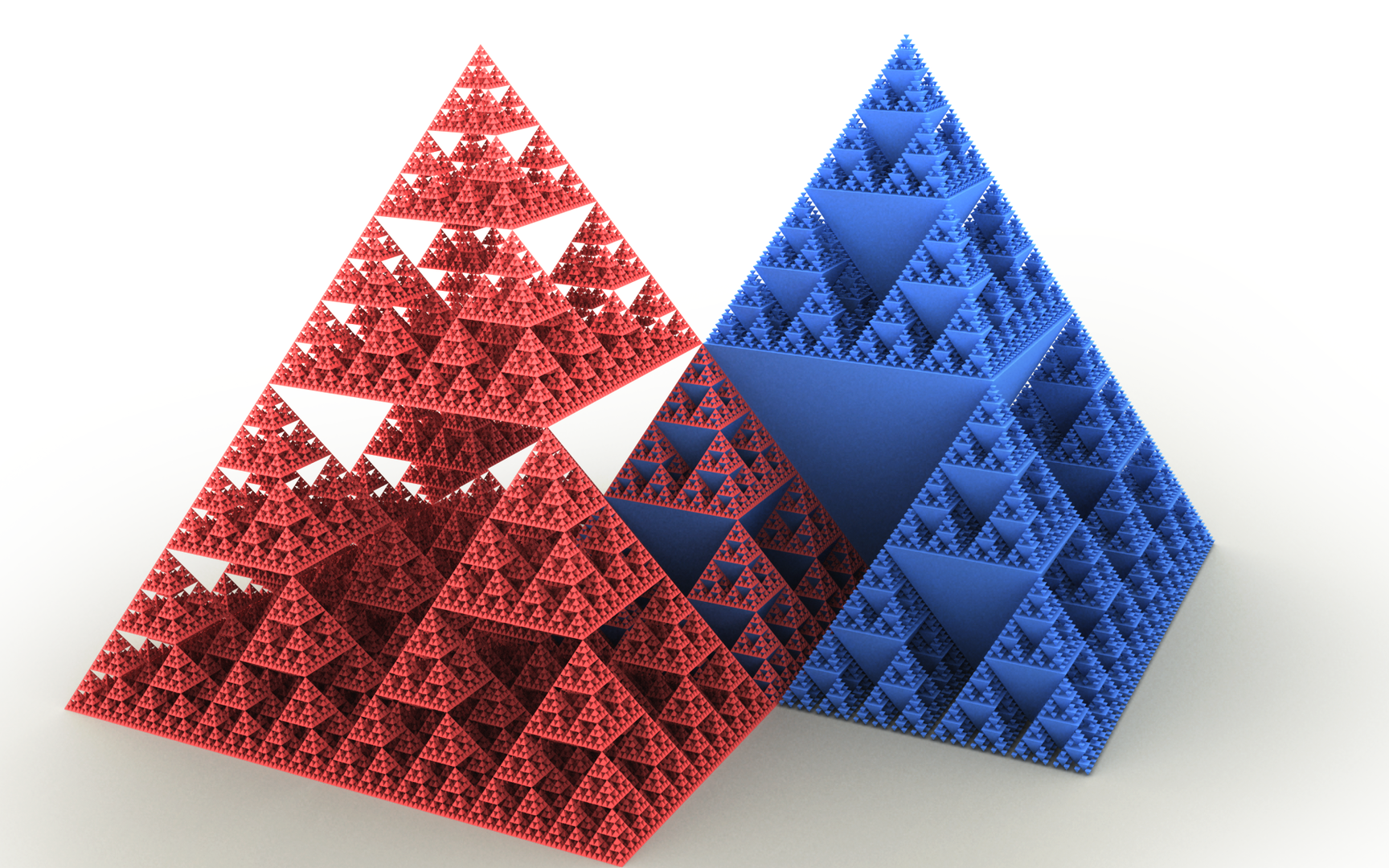 1728px-Sierpinski_pyramid.png Sierpinski pyramids, one red and one blue, the red one is partially nested inside the blue one